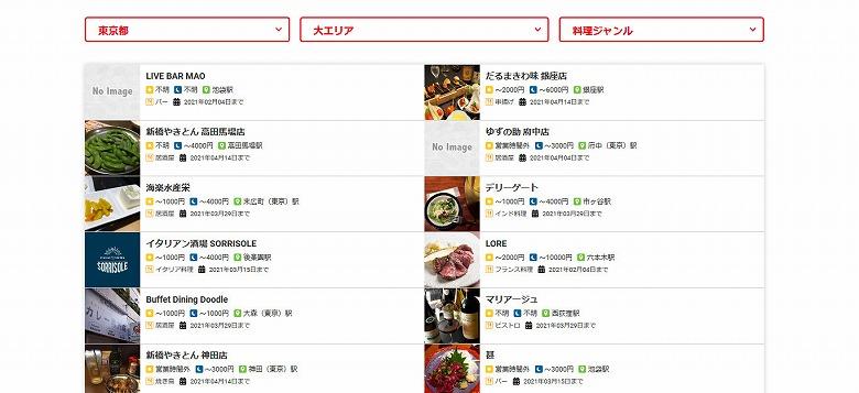 さすが東京都、私が確認したときは640件ものお店が見つかりました